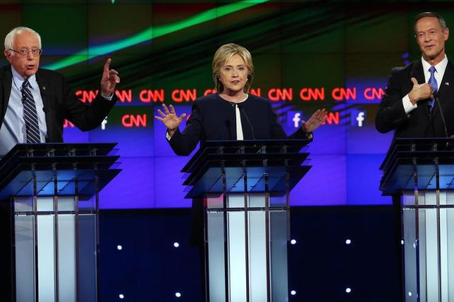 LAS VEGAS, NV - OCTOBER 13: (L-R) Democratic presidential candidates Sen. Bernie Sanders (I-VT), Hillary Clinton and Martin O'Malley take part in a presidential debate sponsored by CNN and Facebook at Wynn Las Vegas on October 13, 2015 in Las Vegas, Nevada. Five Democratic presidential candidates are participating in the party's first presidential debate. (Photo by Joe Raedle/Getty Images)
