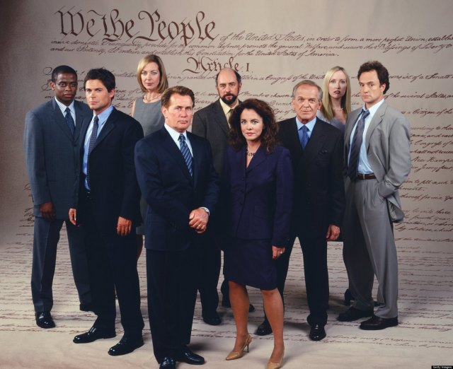 "THE WEST WING -- SEASON 3 -- Pictured: (l-r) Dule Hill as Charlie Young; Rob Lowe as Sam Seaborn; Allison Janney as Claudia Jean 'C.J.' Cregg, Martin Sheen as President Josiah ""Jed"" Bartlet, Richard Schiff as Toby Ziegler, Stockard Channing as Abbey Bartlet, John Spencer as Leo McGarry, Janel Moloney as Donna Moss, Bradley Whitford as Josh Lyman -- Photo by: David Rose/NBCU Photo Bank"